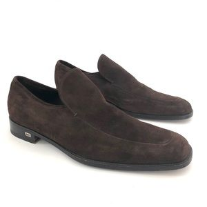 GUCCI BROWN SUEDE ROUNDED SQUARE TOE LOAFERS 44/11